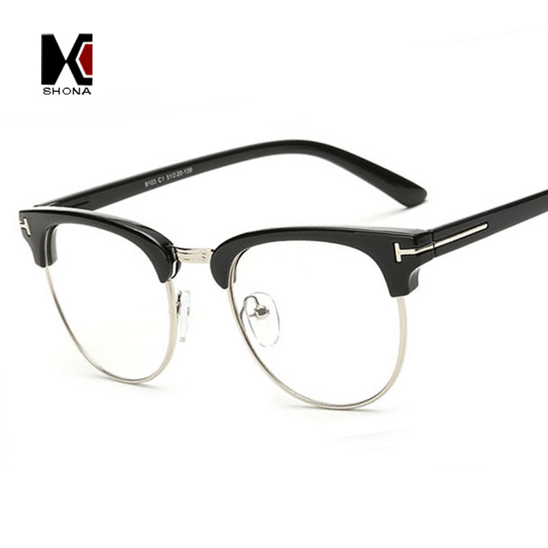 Retro Women Semi rimless Round Frames Original Clear Lens ...