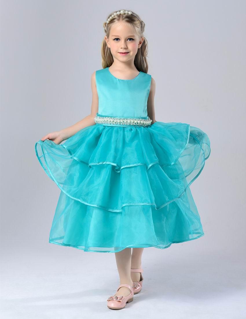 Retail Girl Party Dresses Beading Belt Gauze TUTU Princes Dress performance Dress Children Clothing 2-13T H501