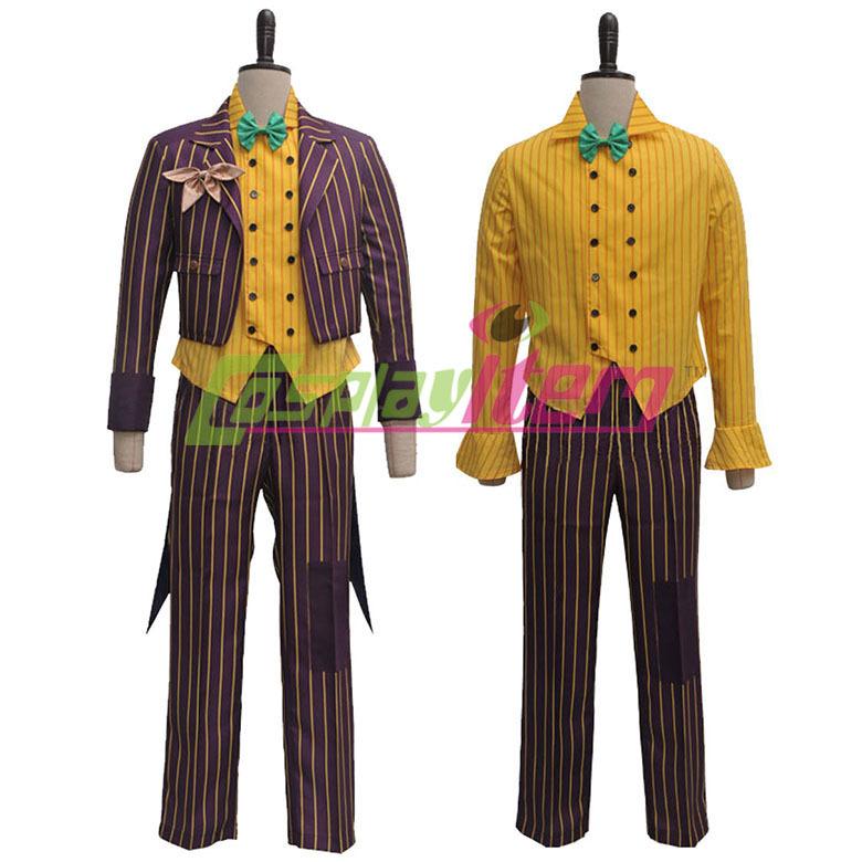 Hot selling Custom made movie Batman cosplay costume Arkham Asylum Joker Cosplay Costume Coat Suit