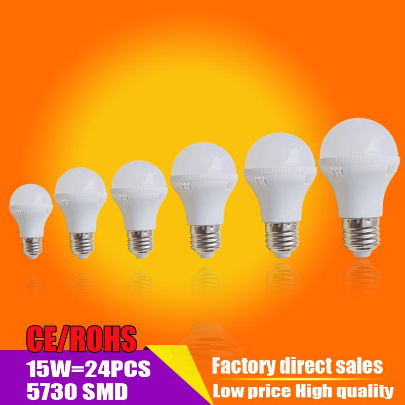 Led Lamp E27 110v 127v 220V 3W 5W 7W 9W 12W 15w Led Bulb B22 High Brightness SMD5730 White Lighting Light Bulbs(China (Mainland))