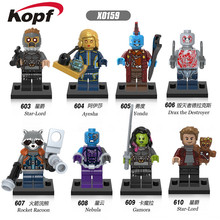 Buy Super Heroes Guardians Galaxy Groot Star-Lord Ayesha Yondu Drax Deatroyer Building Blocks Toys children X0159 for $7.50 in AliExpress store