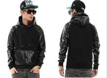 High Quality PU Faux black Leather Dispatch Man Hoody Hoodies Sweatshirts Side Zipper Hip Hop Swag Hiphop Men Boys Streetwear