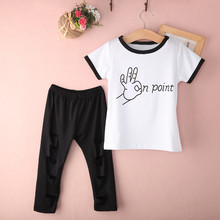 New Arrival Baby Girl Kids Letter Printed Outfits Children Summer Cute Cotton Short Sleeve T-shirt Hollow Out Pants Clothes Set(China (Mainland))