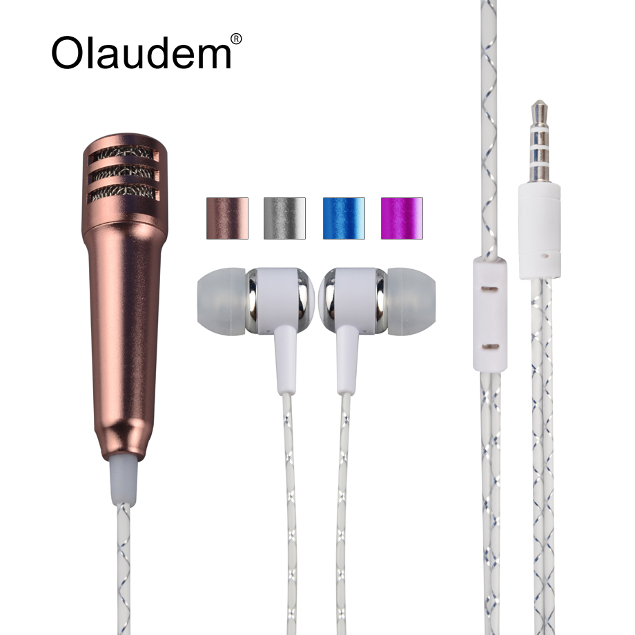 Mini Condenser Handheld Microphone with earphone Singing Karaoke Recording Mic for IOS iphone Android Samsung Smartphone MIC1598(China (Mainland))