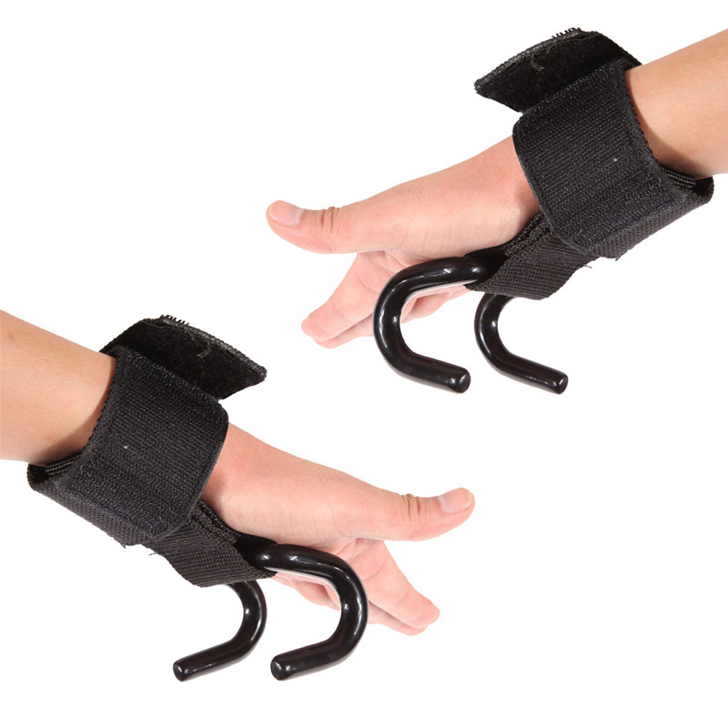 Pro Weight Lifting Training Gym Hook Grips Straps Gloves Wrist Support Lift NVIE