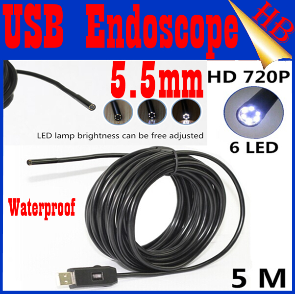 720P HD 1.3MP Super Mini 5.5mm Dia USB Endoscope Endoscope Camera 6LED 1080*720 Borescope(China (Mainland))