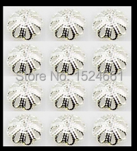 500pcs 7mm silver/flower bead caps