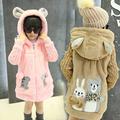 Girls sweater Jacket Loog Sleeve Hooded Wool Fur Coat Kids Clothes cartoon bear Girls Winter Outerwear