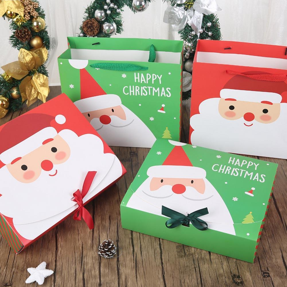 Christmas Festival Gift Paper Bags Korean Gift Bag Christmas Gift packaging Box 25x10x21cm Multifuction Green Red 2016 New W5(China (Mainland))