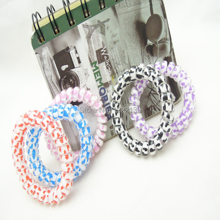 Multicolor Elastic Telephone Wire Hair Band Heart Shape Spot Printing Hair Tie Phone Line Headband Ponytail Holder Bracelet(China (Mainland))