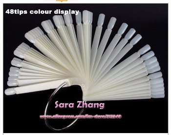 Free Shipping 48 tips Steel Ring Nail Art Display Chart for Polish Gel Display Tool Natural /Clear color available