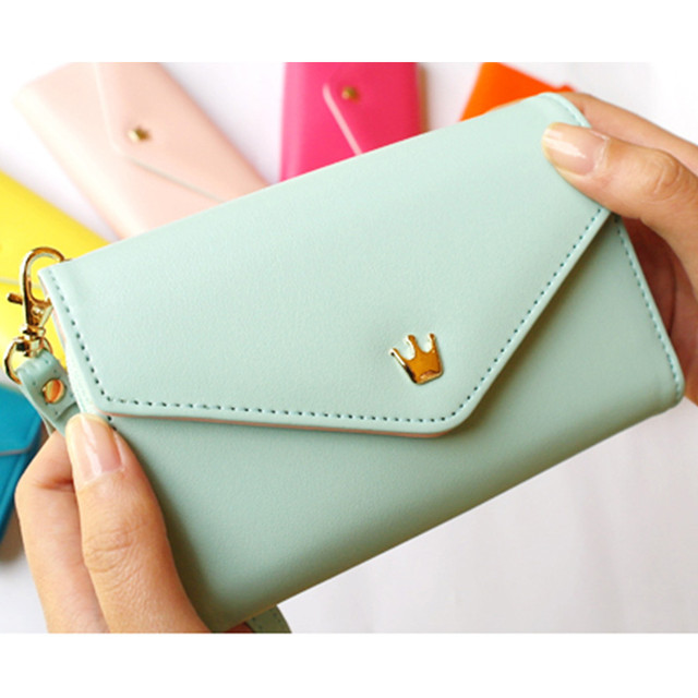 Fashion Candy Color lady wallets pu leather wallets for Phone women purse(QH09)