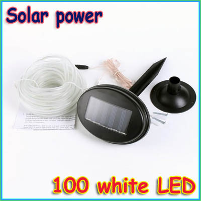 pcs solar power 100 led light rope outdoor indoor white for