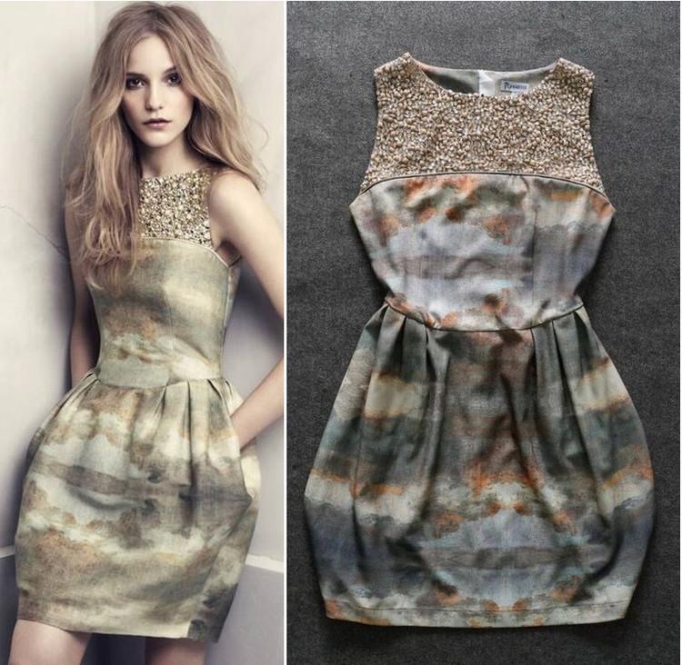 Europe US brand latest new Manual Nail Bead Slim Retro Dyeing Sleeveless Bud one-piece Dress - Joyful Shop store