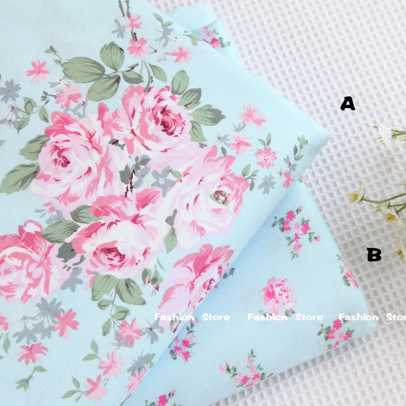 40*50cm choose color 100% cotton fabric Victoria blue roses bedding cloth DIY for Sewing patchwork cushion quilting fabrics(China (Mainland))
