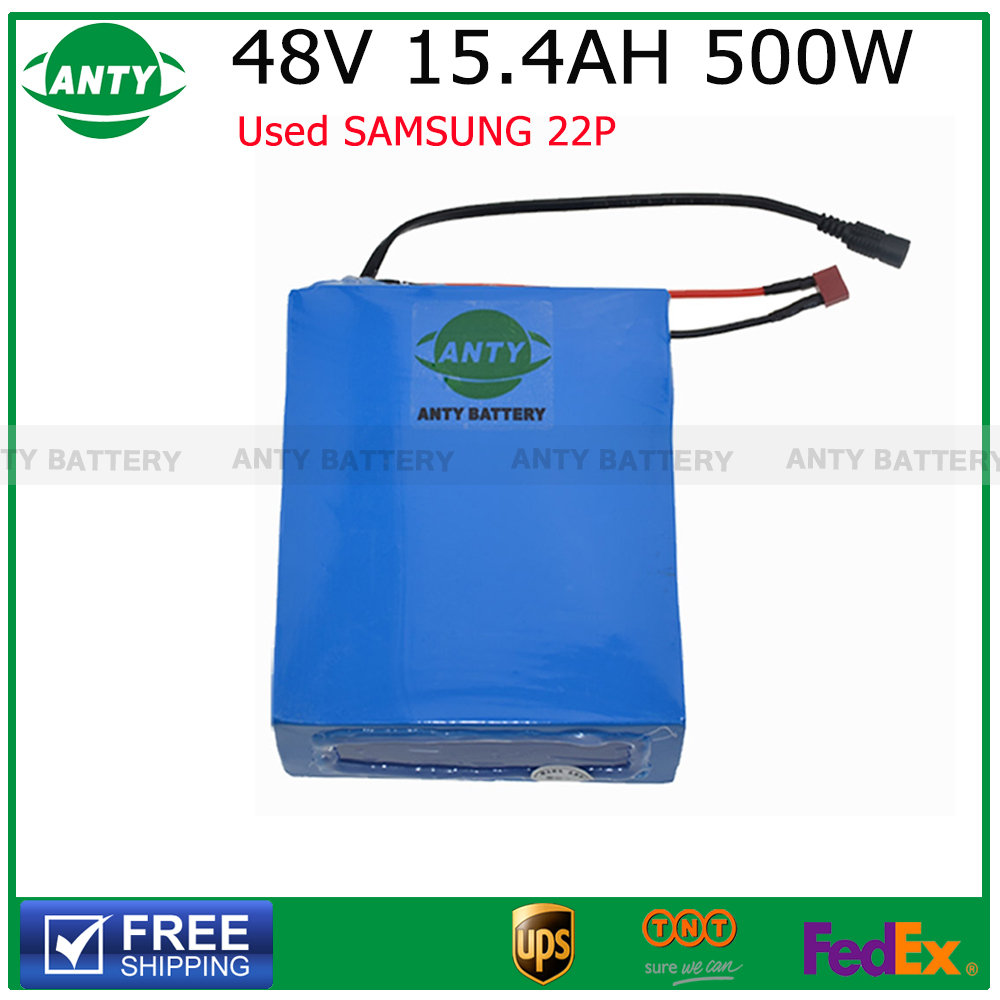 Electric Bike Battery 48V 15.4AH 500W e bike Battery 48v Lithium Battery Pack 48v with 54.6V 2A Charger,BMS Free Shipping(China (Mainland))