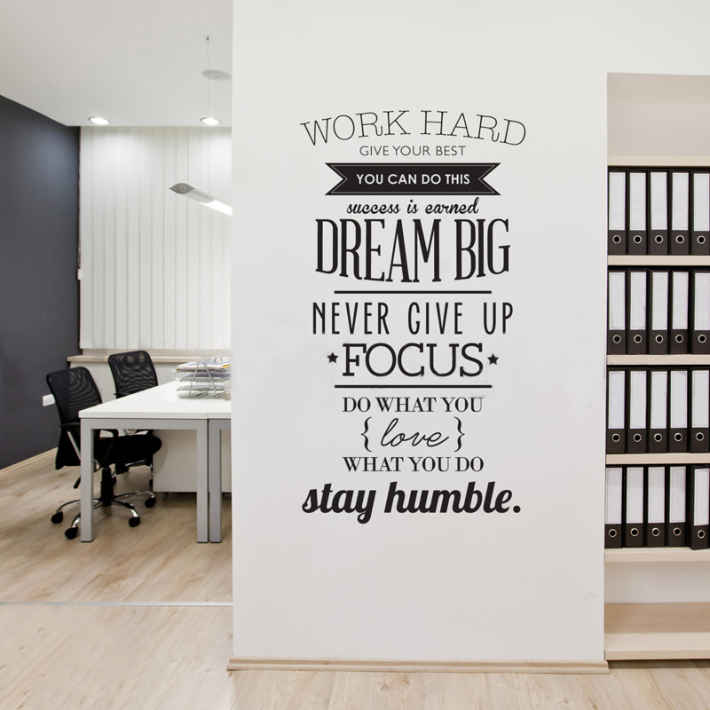 100x56CM Wall Decals Quotes Work Hard Vinyl Wall Stickers Letters Decorations Office Home Decoration Wall Art Wall Stickers V30