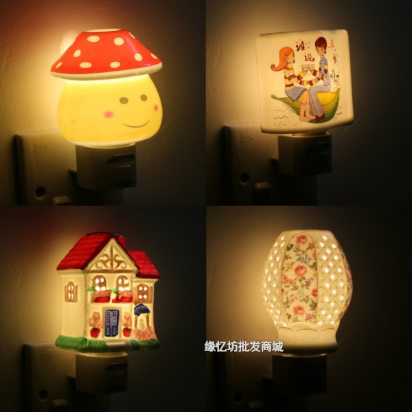 Fashion cartoon ceramic small night light creative night light ofhead plug in ceramic lamp