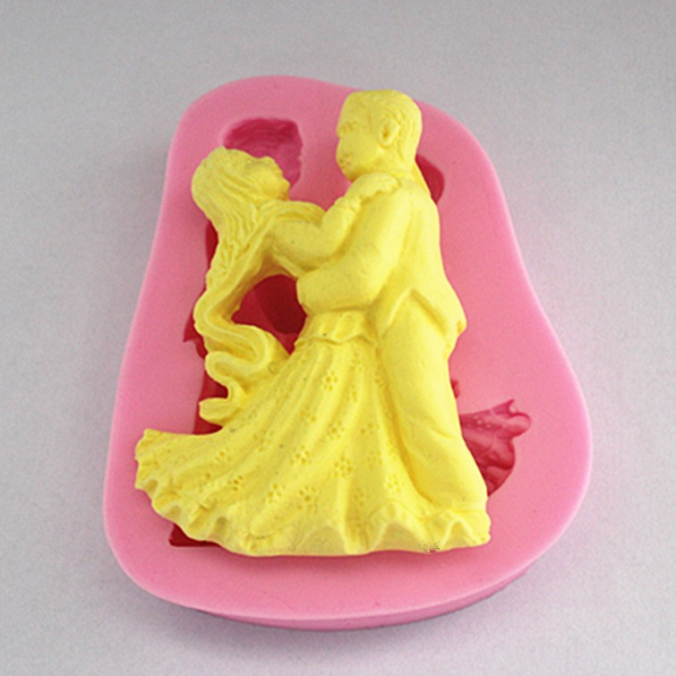 DIY Man&Woman Dance Silicone Cake Mold Silicone Baking Tools Kitchen Accessories Decorations Happy Birthday Decoration FM679(China (Mainland))