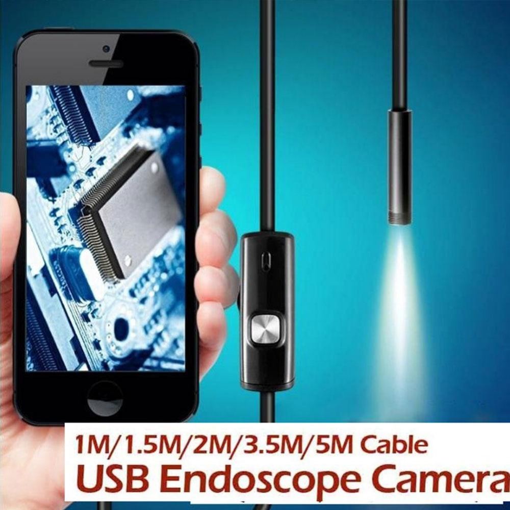 1M/1.5M/2M/3.5M/5M 7mm Endoscope Waterproof IP67 Android Endoscope Inspection USB Borescope 6LED Tube Snake Mini Micro Cameras(China (Mainland))