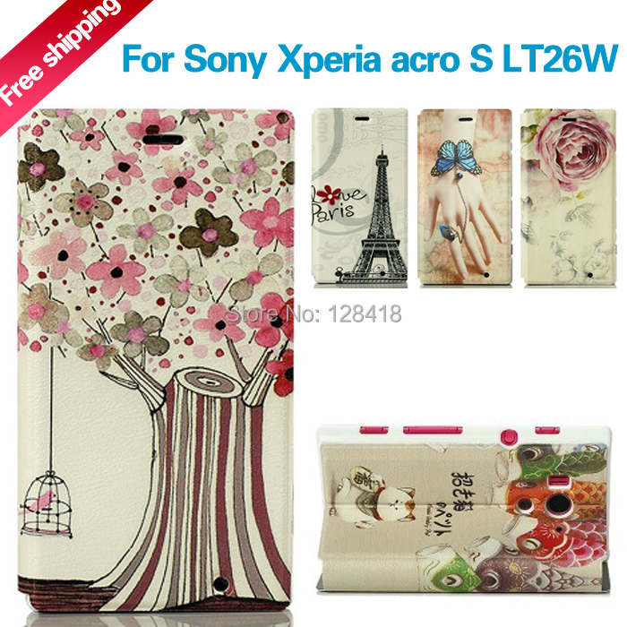 Luxury fashion leather case Sony Xperia acro S lt26w painted stand flip ultra-thin mount phone protective cover - Mobile phone's lover store