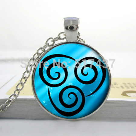 Glass Cabochon Necklace,Air Nomad Necklace from Avatar the Last Airbender Bright Silver Pendant, Jewelry Handmade(China (Mainland))