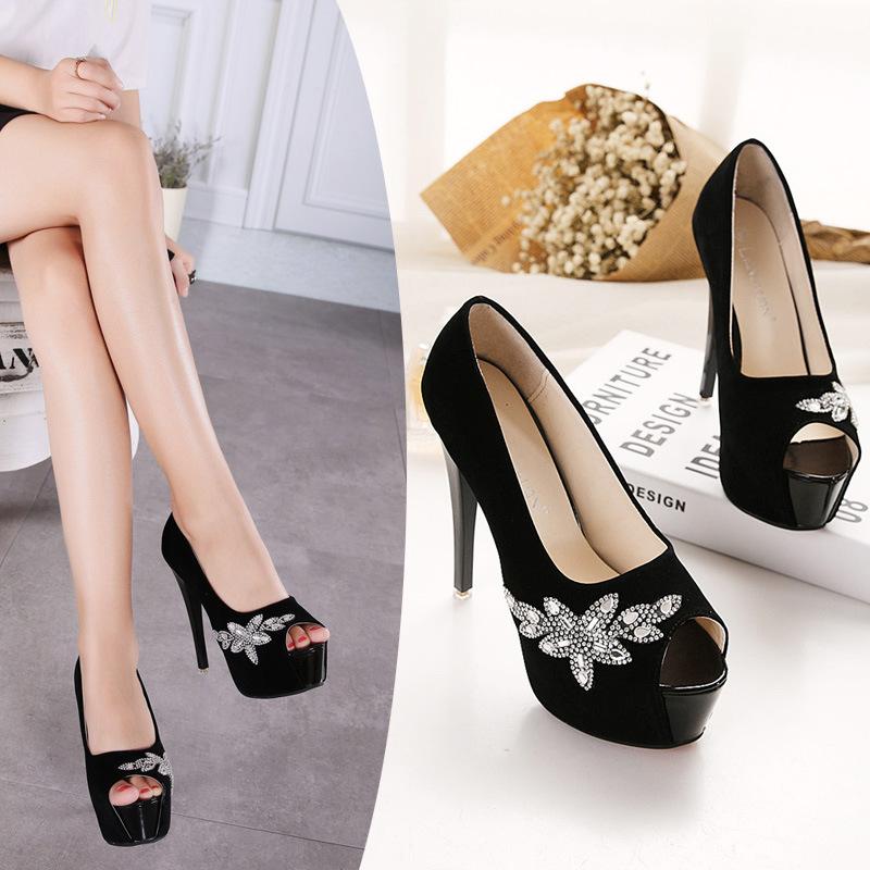 2016 Spring New Fashion Super High Heels Sexy Stilettos Peep Toe Women Pumps 14cm Black Sexy Platforms Shoes