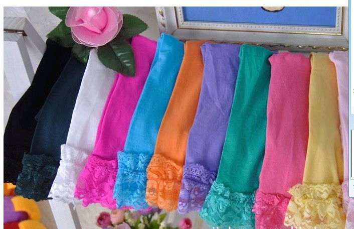 girls velvet short baby girl candy color lace leggings 12 colors for 2-9 years(China (Mainland))