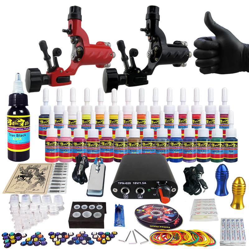 Complete Tattoo Kit for Beginner Starter 2 Pro Machine Guns 28 Inks set Power Supply Foot Pedal  Needle Grips Tips CD TK204-16<br><br>Aliexpress