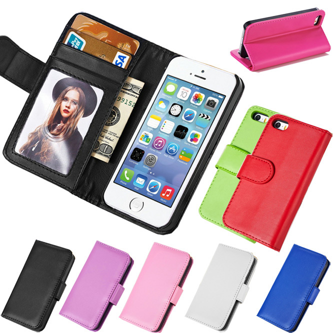 5G Wallet Type Flip PU Leather Case With Hard Plastic Holder & Photo Display Leather Cover For Apple iPhone 5 5S Cell Phone Bags(China (Mainland))