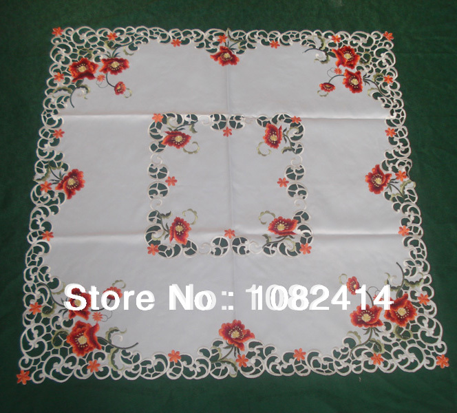 Tablecloths, table linen with embroidered poppy flowers and handmade cuttings, multi colors 85cm SQ(China (Mainland))