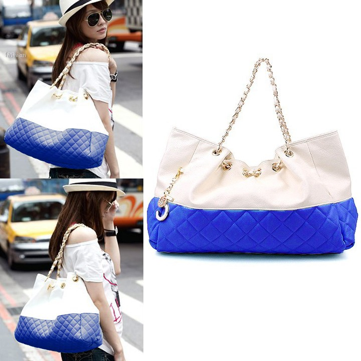 2015 Women Fashion 6 Colors Girls' Oversized Bag Shoulder Bag Handbag Leather Zipper Bag Chain Straps 10(China (Mainland))