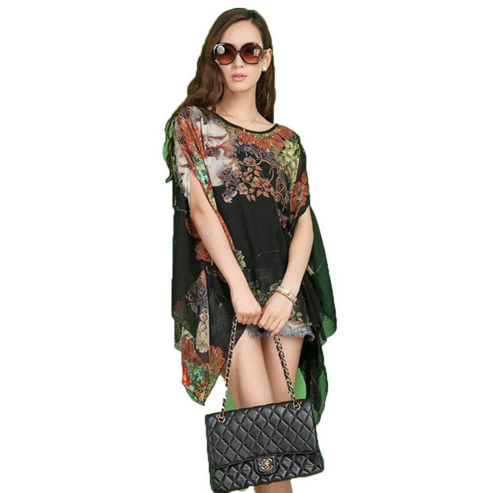 Fashion 2016 Women Top Shirt Ladie's Floral Print Chiffon Cape ...
