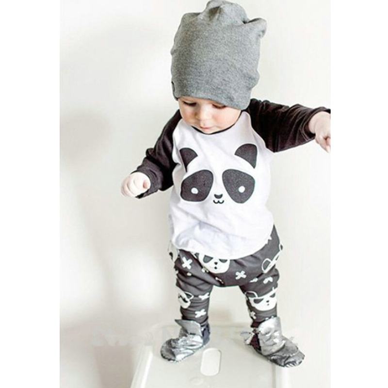 Autumn Winter Baby boy clothes 2pcs t-shirt top+pant panda printed cotton children's clothes infant clothing set baby suits(China (Mainland))