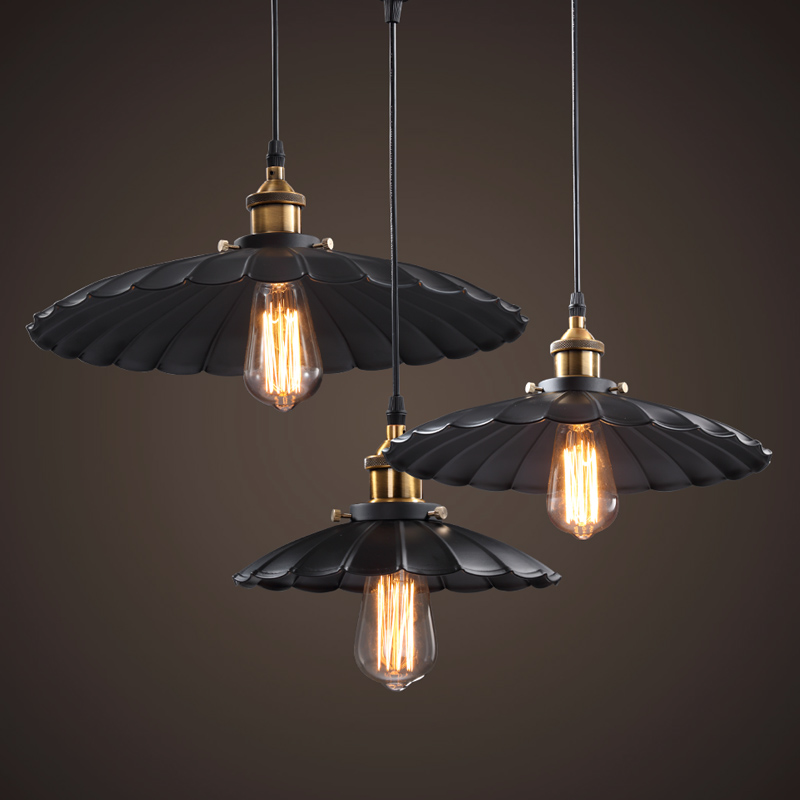 North American Painted Iron Vintage Pendants Lamp Retro Pendant Lamp black painted industrial pendant lamps rustic pendant light