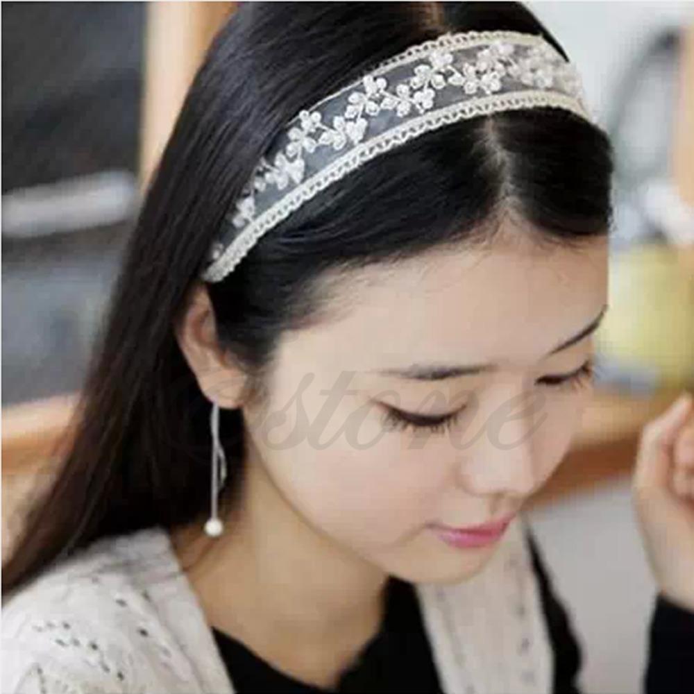 W110- Fashion Womens Lace Faux Pearl Beads Headhand Hairband Elastic Hair Head Band White/Black(China (Mainland))