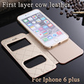 Premium Cellphone Leather cases for Iphone 6 Plus window view genuine cowhide Mobile phone case Cover