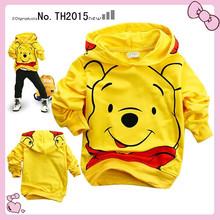 Free shipping 2015 New Kids yellow Bear cartoon Children's Clothing Hoodies Sweatshirts baby clothing boys clothes girls clothes(China (Mainland))
