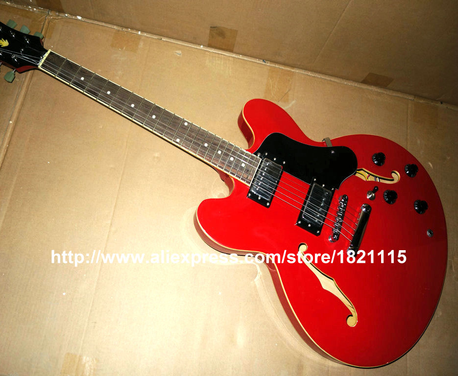 Stock 3 Year Red 335 style Guitar Cheap Sale Beginner jazz Electric Guitar Sample China guitar Factory Wholesale OEM Cheap(China (Mainland))