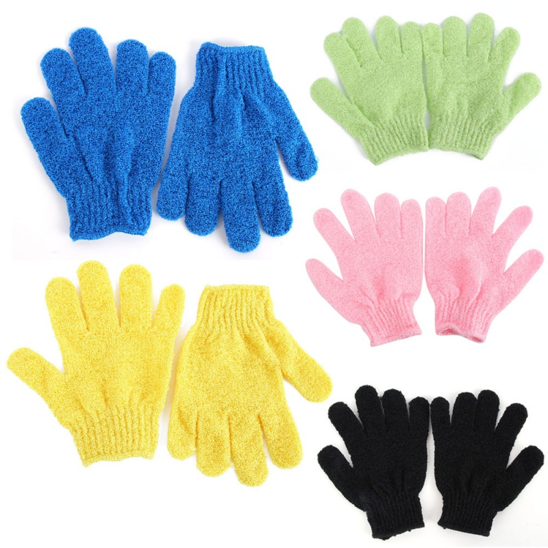 1 Pair Shower Bath Gloves Exfoliating Wash Skin Spa Massage Scrub Body Scrubber Glove 9 Colors(radom color)(China (Mainland))