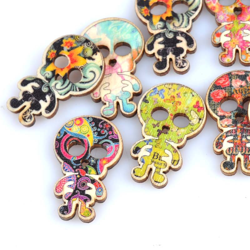 50Pcs Mixed-color Skull Buttons Halloween Wood Crafts Handmade Making Buttons