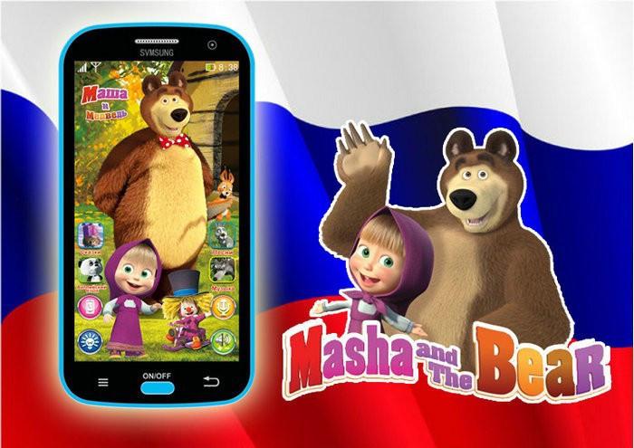 Baby Mobile Phone Toy Russian Language Learning Machines Talking Masha And Bear Learning&Education Electronic Plastic Juguetes(China (Mainland))