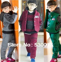 2014 new spring boys girls children winter cotton baby sports suit jacket sweater coat pants thicken kids clothes set(China (Mainland))