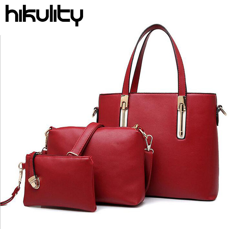 HIKULITY New 2016 Autumn Good Leather Handbag Women Messenger Bags Ladies Brand Design Shoulder Bag Purse 3 Sets Sac A Main<br><br>Aliexpress