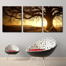 3 Panel Modern Printed Tree Painting Picture Cuadros Sunset Canvas Painting Wall Art Home Decor For Living Room No Frame PR157(China (Mainland))