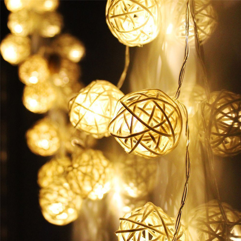 High Quality 20 LED Warm White Rattan Ball String Fairy Lights For Xmas Wedding Party Hot(China (Mainland))