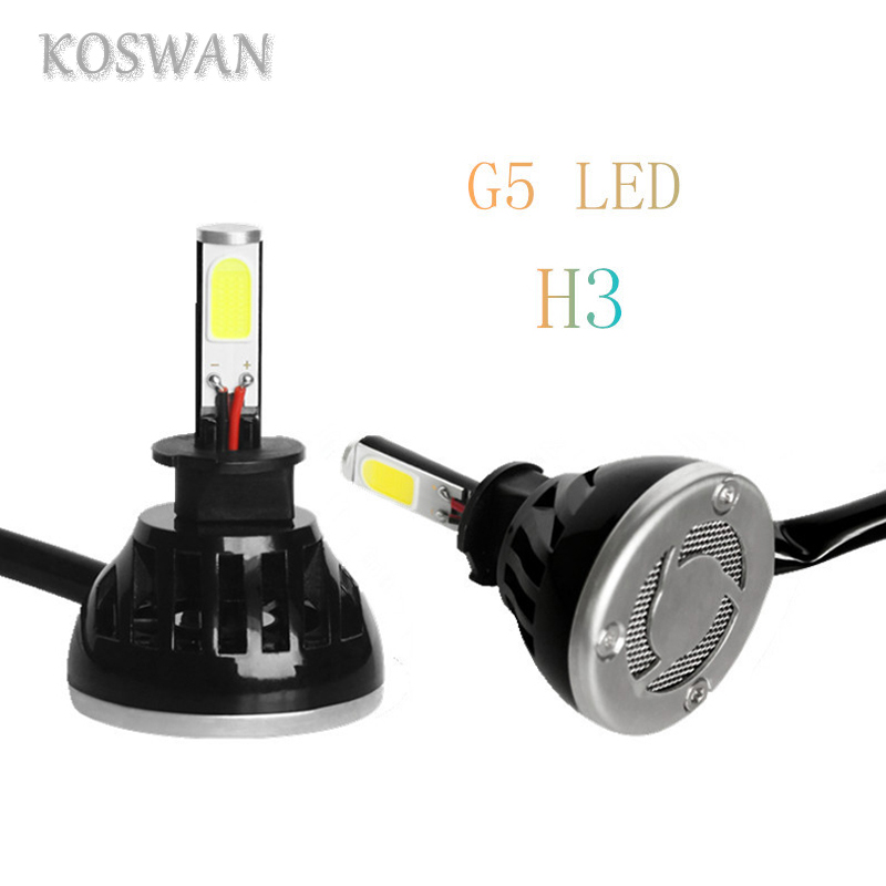 2pcs Universal Car H3 LED Headlight Bulb 4800LM 48W Four Pcs Chlips COB LED Headliglamp H3 Head Light Bulb System Good Quality(China (Mainland))