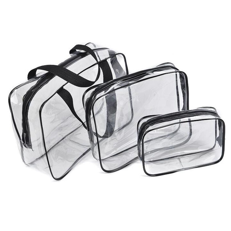 Three-piece travel bag wash totes makeup pouch women transparent PVC cosmetic bags bulk organizer storage case peach bag(China (Mainland))