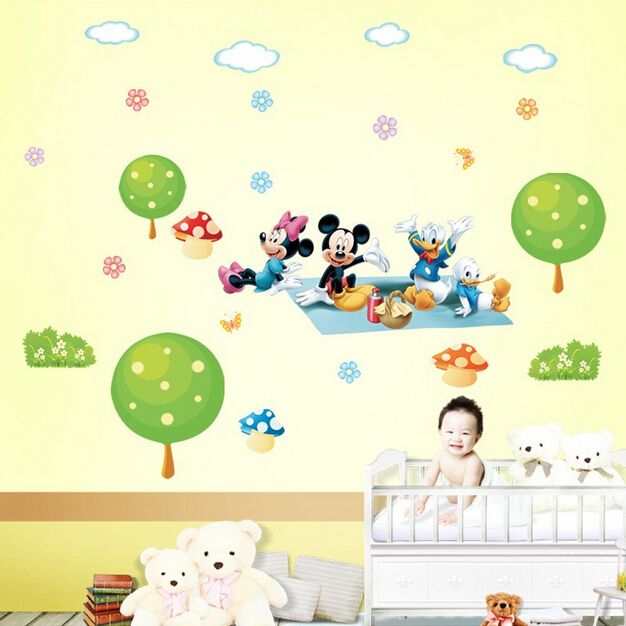 kindergarten room sitting room the bedroom wall of setting of Mickey Mouse Donald Duck wall stickers DLX133L(China (Mainland))