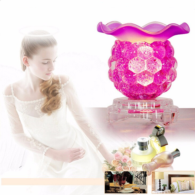Fashion Crystal Grape Glass Fragrance Lamp 5 Colors Electric Plug Aromatherapy Oils Incense Burner Bedroom Night Light Wholesale(China (Mainland))